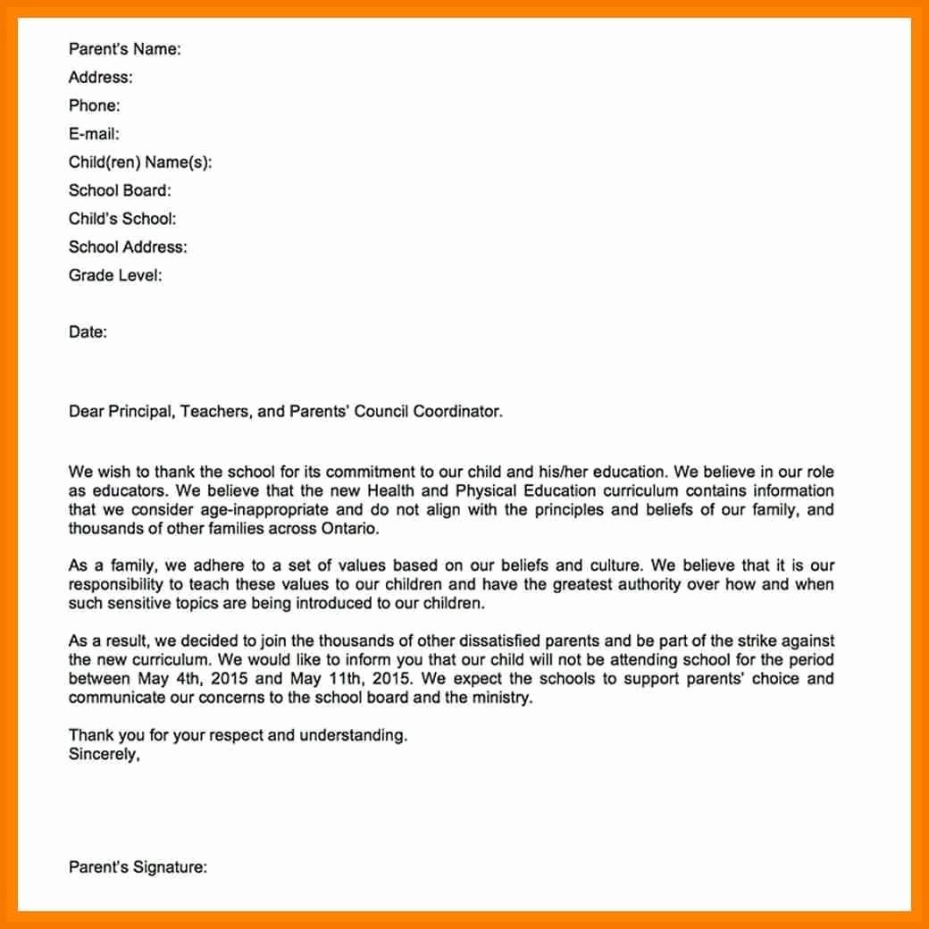 Child Absent From School Letter Lovely 10 Absent Letter to Teacher