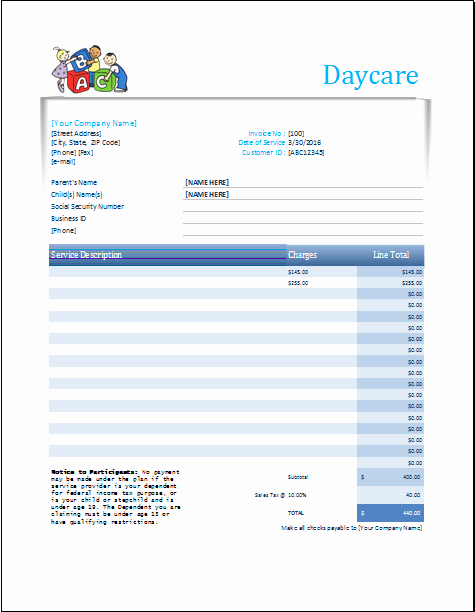 Child Care Receipt Template Excel Best Of Daycare Receipt Excel Template