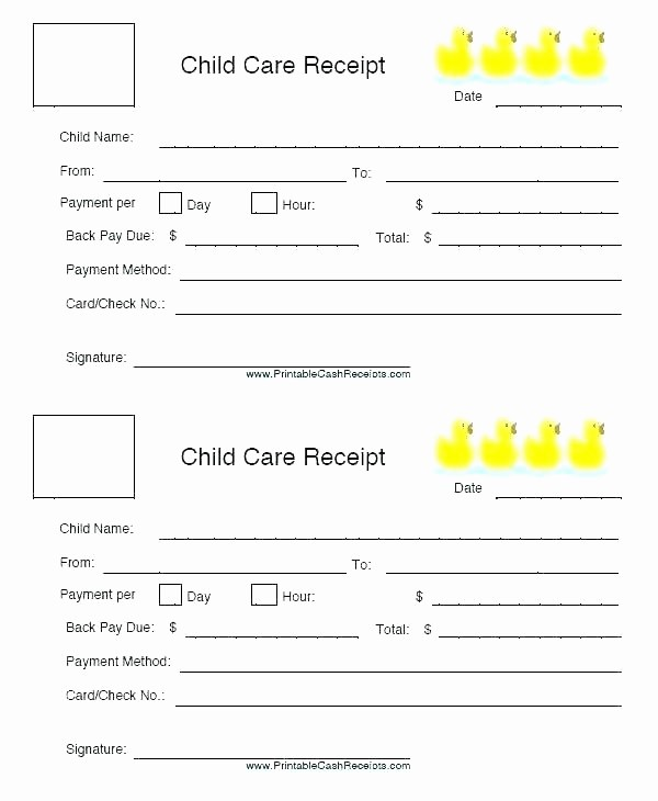 Child Care Receipt Template Excel Elegant Child Care Receipt format Receipts Free Printable Daycare