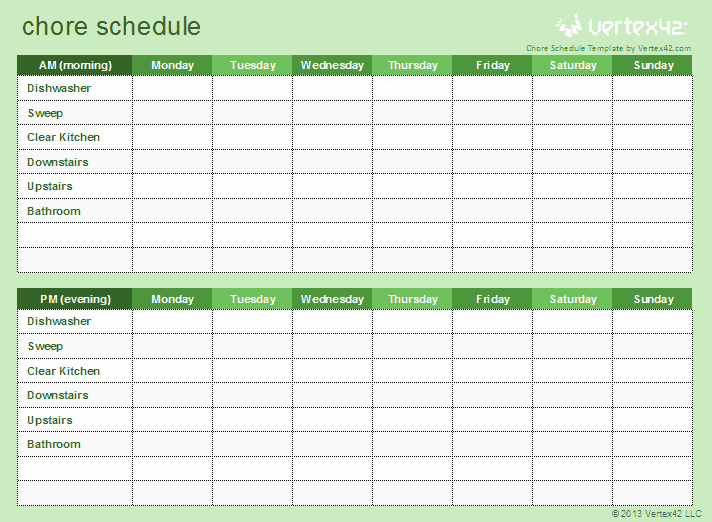 Chore Chart Template Free Download Awesome Download A Free Chore Schedule Template for Excel to Help