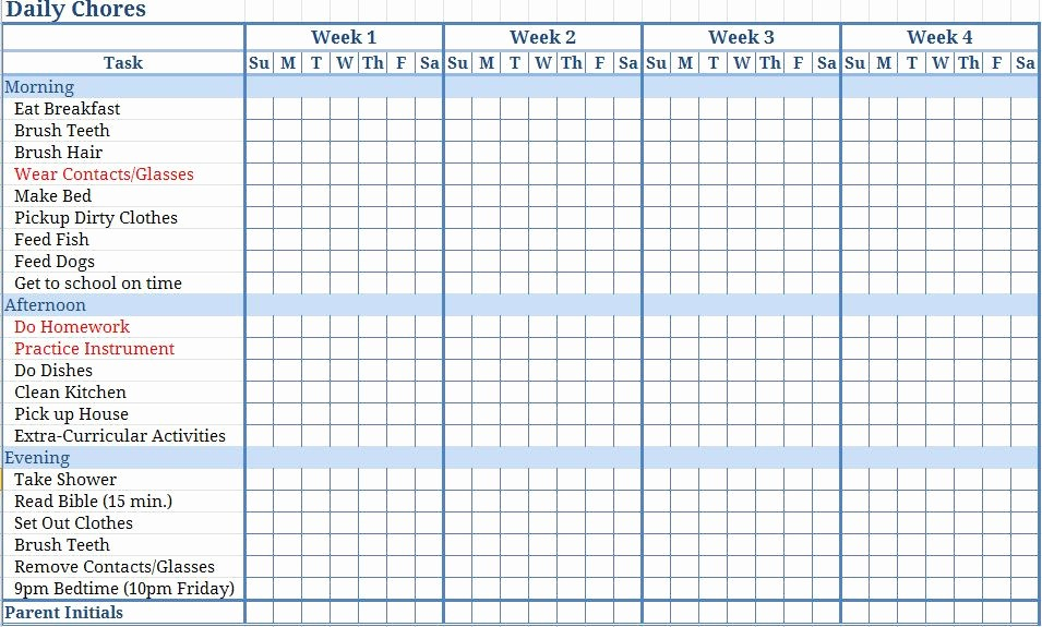 Chore Chart Template Free Download Beautiful Free Templates Chore Charts