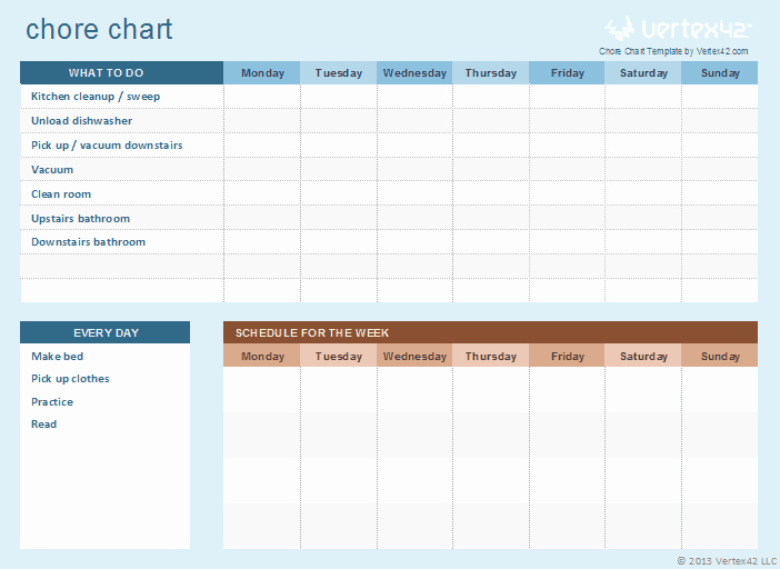 Chore Chart Template Free Download Best Of Free Kids Chore Chart Template