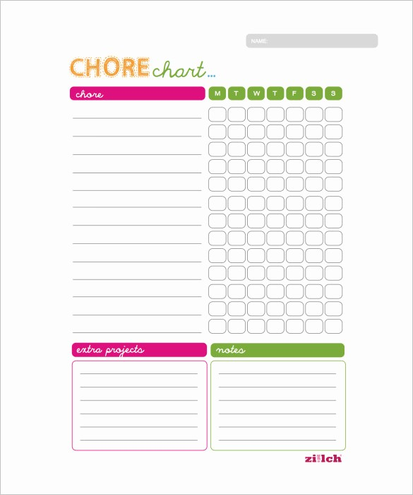 Chore Chart Template Free Download Fresh 11 Sample Weekly Chore Chart Template Free Sample