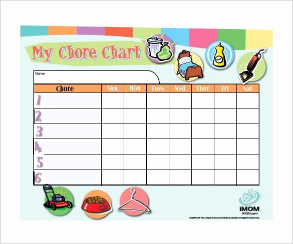 Chore Chart Template Free Download Inspirational 30 Weekly Chore Chart Templates Doc Excel