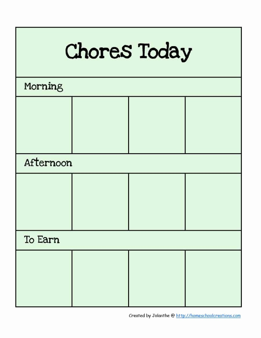 Chore Chart Template Free Download Inspirational 43 Free Chore Chart Templates for Kids Template Lab