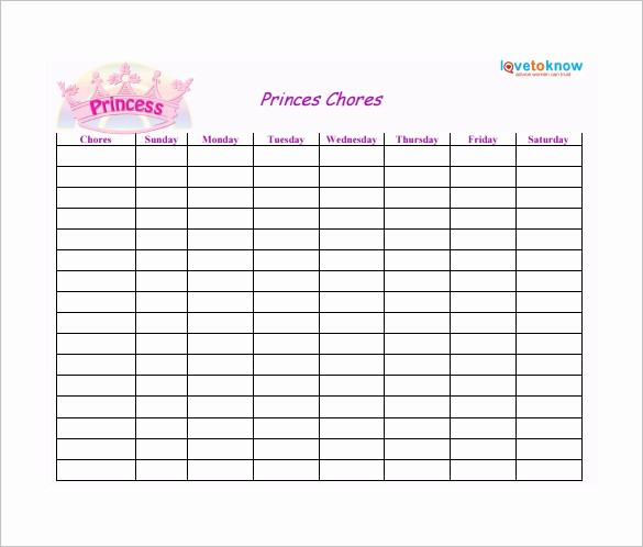 Chore Chart Template Free Download Inspirational Weekly Chore Chart Template 24 Free Word Excel Pdf