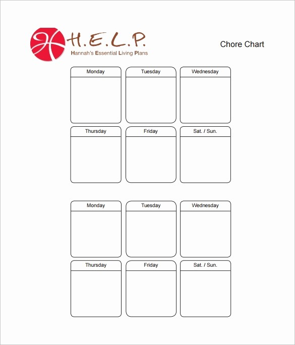 Chore Chart Template Free Download New 10 Sample Chore Chart Templates