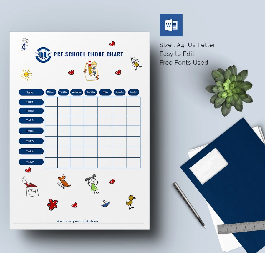 Chore Chart Template Free Download New Weekly Chore Chart Template 24 Free Word Excel Pdf
