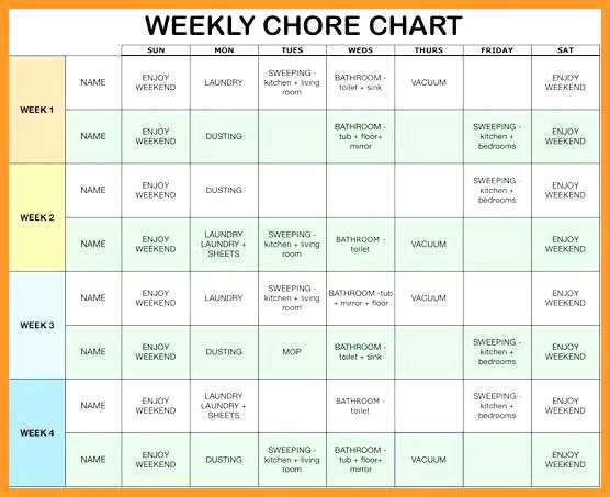 Chore Chart Template Google Docs Awesome 10 11 Free Editable Printable Chore Charts