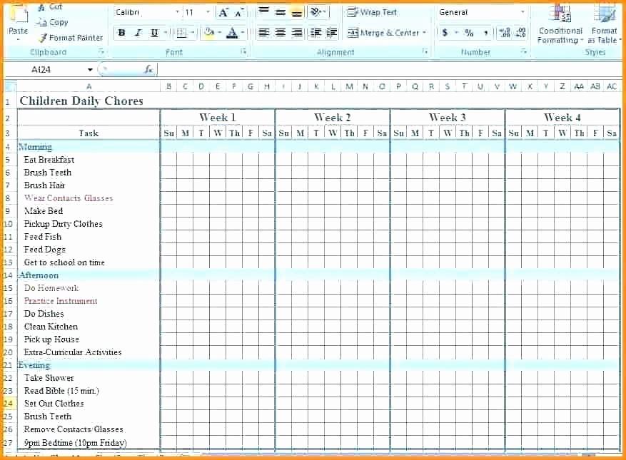 Chore Chart Template Google Docs Beautiful Chore Chart Template Excel Children Daily Family List