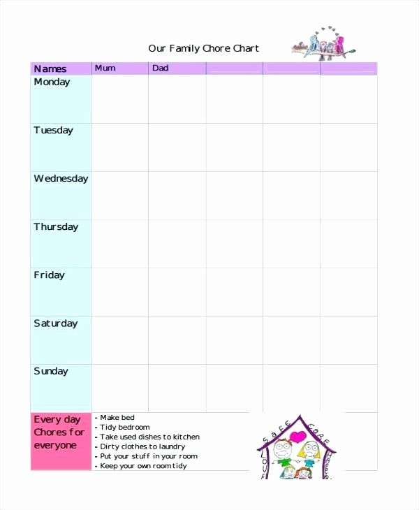 Chore Chart Template Google Docs Lovely Chore Chart and Ideas for Teens – Newscellarfo