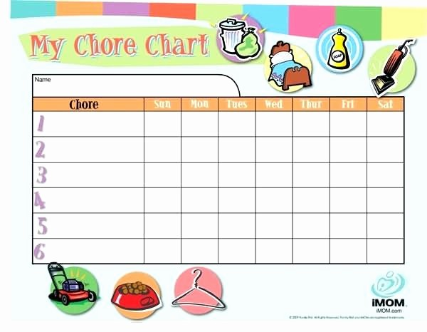 Chore Chart Template Google Docs Lovely Customized Chore Chart List and Stuffing Throughout Free