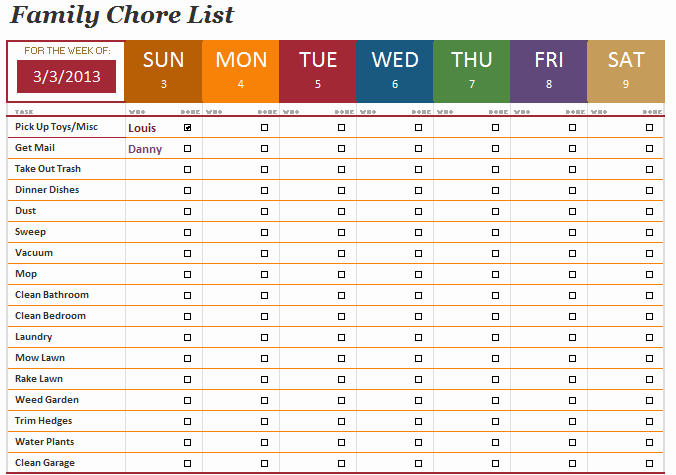 Chore List Template for Adults Awesome the Family Chore List Template Will Help You Manage the