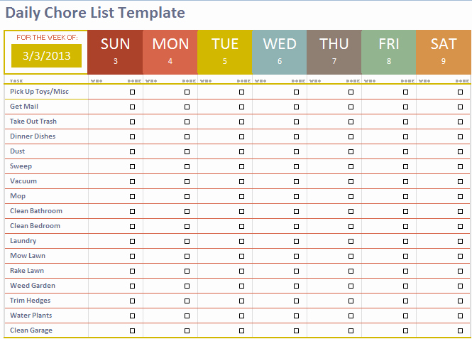 Chore List Template for Adults Beautiful Free Adult Content Filter