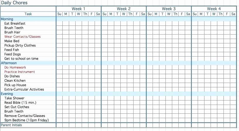 Chore List Template for Adults Fresh Chore List Template for Adults – Bestuniversitiesfo