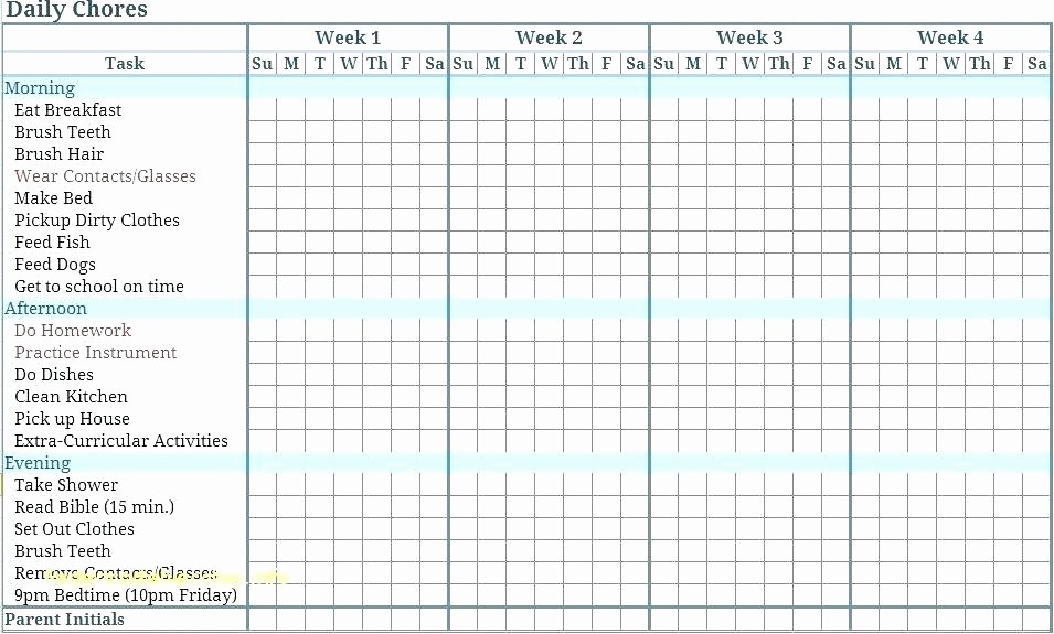 Chore List Template for Adults Luxury Chartreuse Template Chore List Charts Elegant Weekly Chart