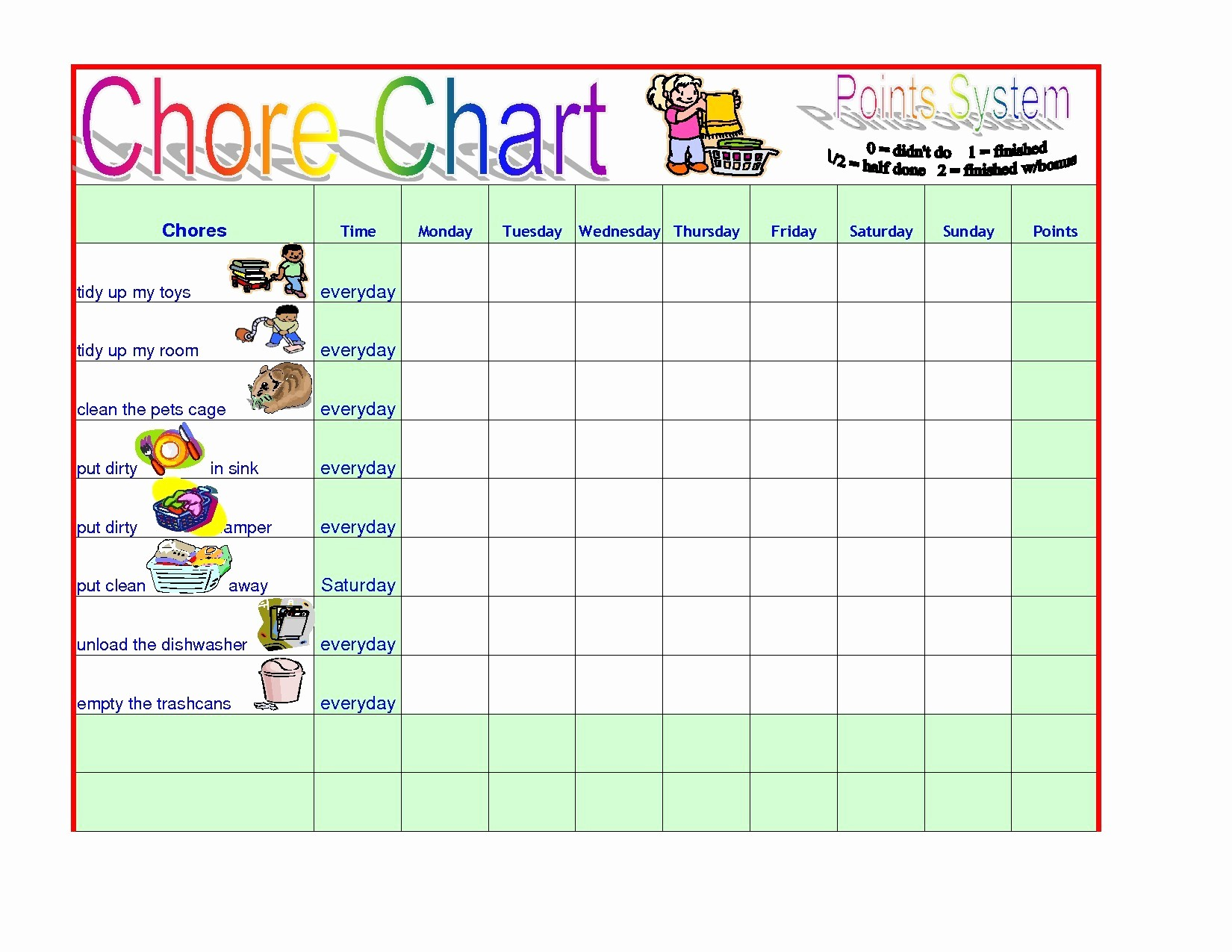 Chore List Template for Adults Unique Chore Chart Templates Save Chore Chart for Adults