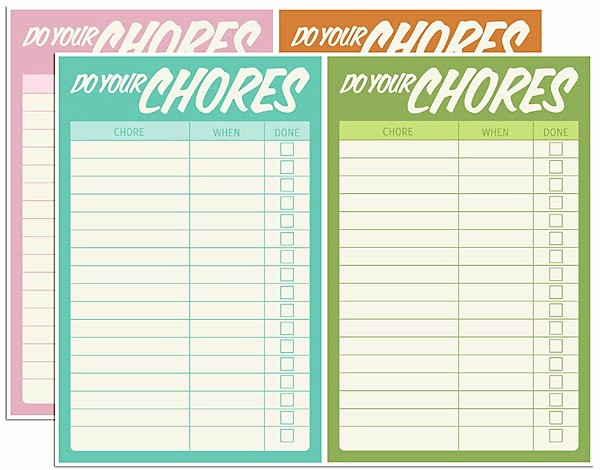 Chore List Template for Adults Unique Free Digital Download – Chore Charts