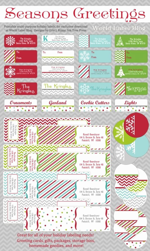 Christmas Address Label Template Free New Free Printable Holiday Address Labels by Erin Rippy Of