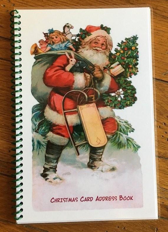 Christmas Card List Address Book Awesome Christmas Card Address Book Personalized Gift Santa Cover
