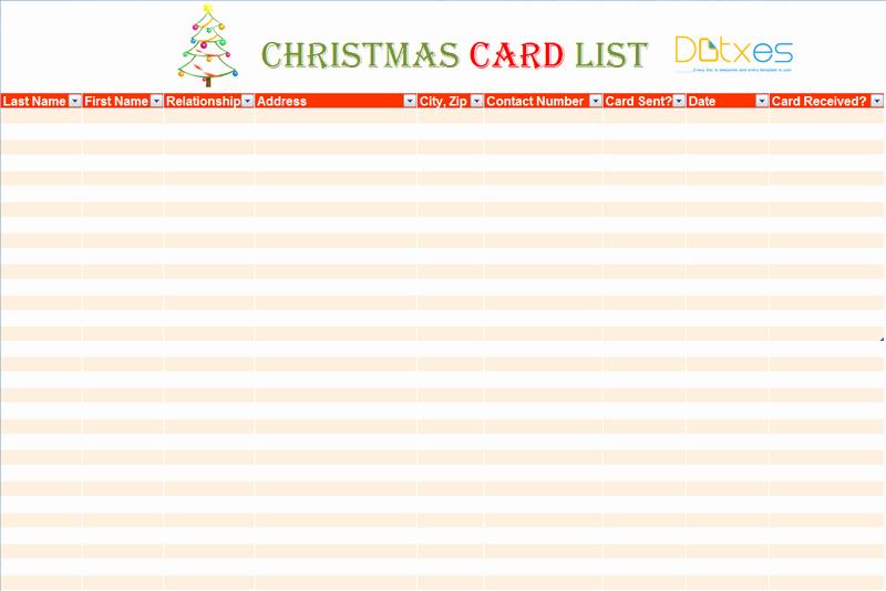 Christmas Card List Address Book New Christmas Card List Template for Excel Dotxes