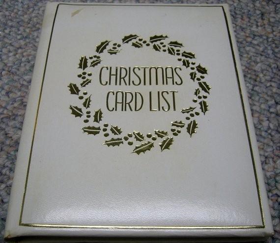 Christmas Card List Address Book New Vintage Christmas Card List Address Book by Rswvintage On Etsy