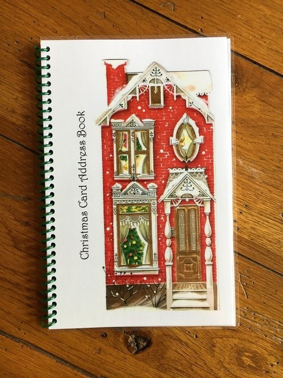 Christmas Card List Address Book Unique Christmas Card Address Book Personalized Gift Red House Cover
