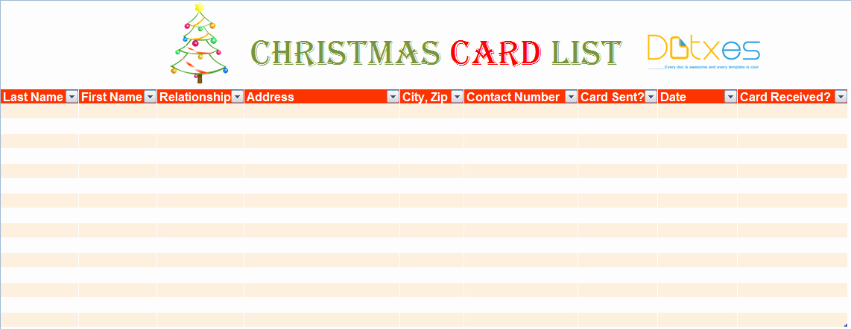 Christmas Card List Address Book Unique Christmas Card List Template for Excel Dotxes