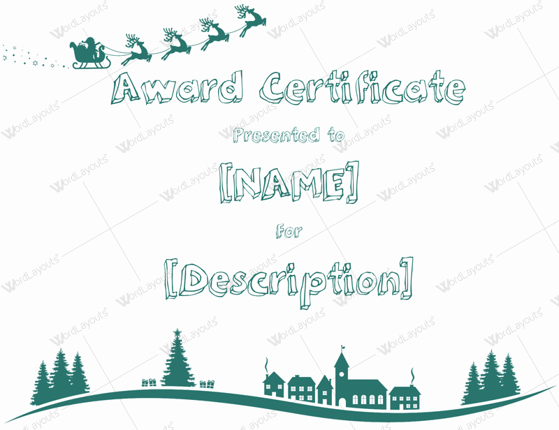 Christmas Certificate Template Free Download Awesome Christmas themed Award Certificate Templates Download In