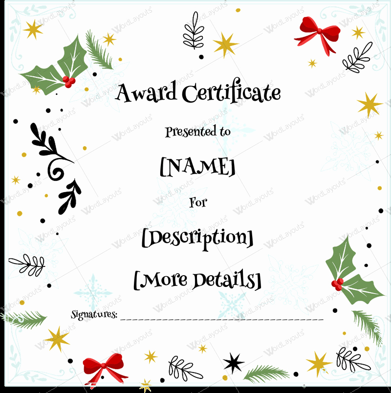 Christmas Certificate Template Free Download Elegant Christmas themed Award Certificate Templates Download In