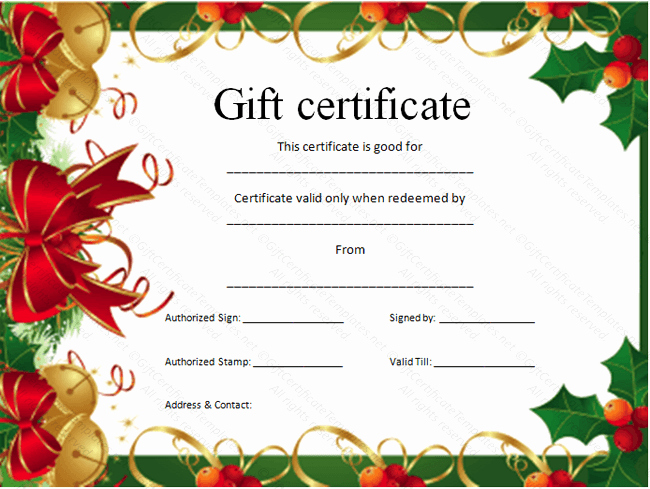 Christmas Certificate Template Free Download Fresh 30 Printable Gift Certificates
