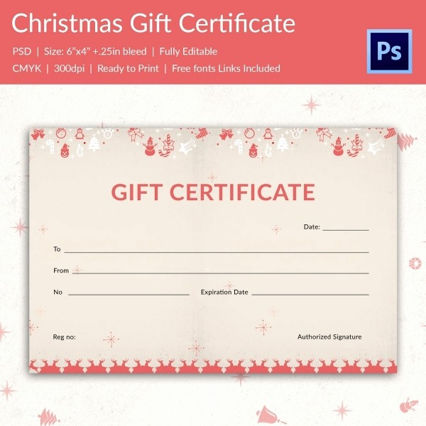 Christmas Certificate Template Free Download Lovely Christmas Gift Certificate Templates 21 Psd format