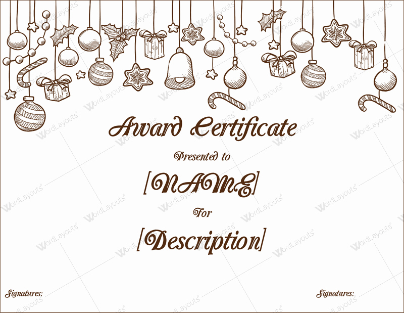 Christmas Certificate Template Free Download Lovely Christmas themed Award Certificate Templates Download In