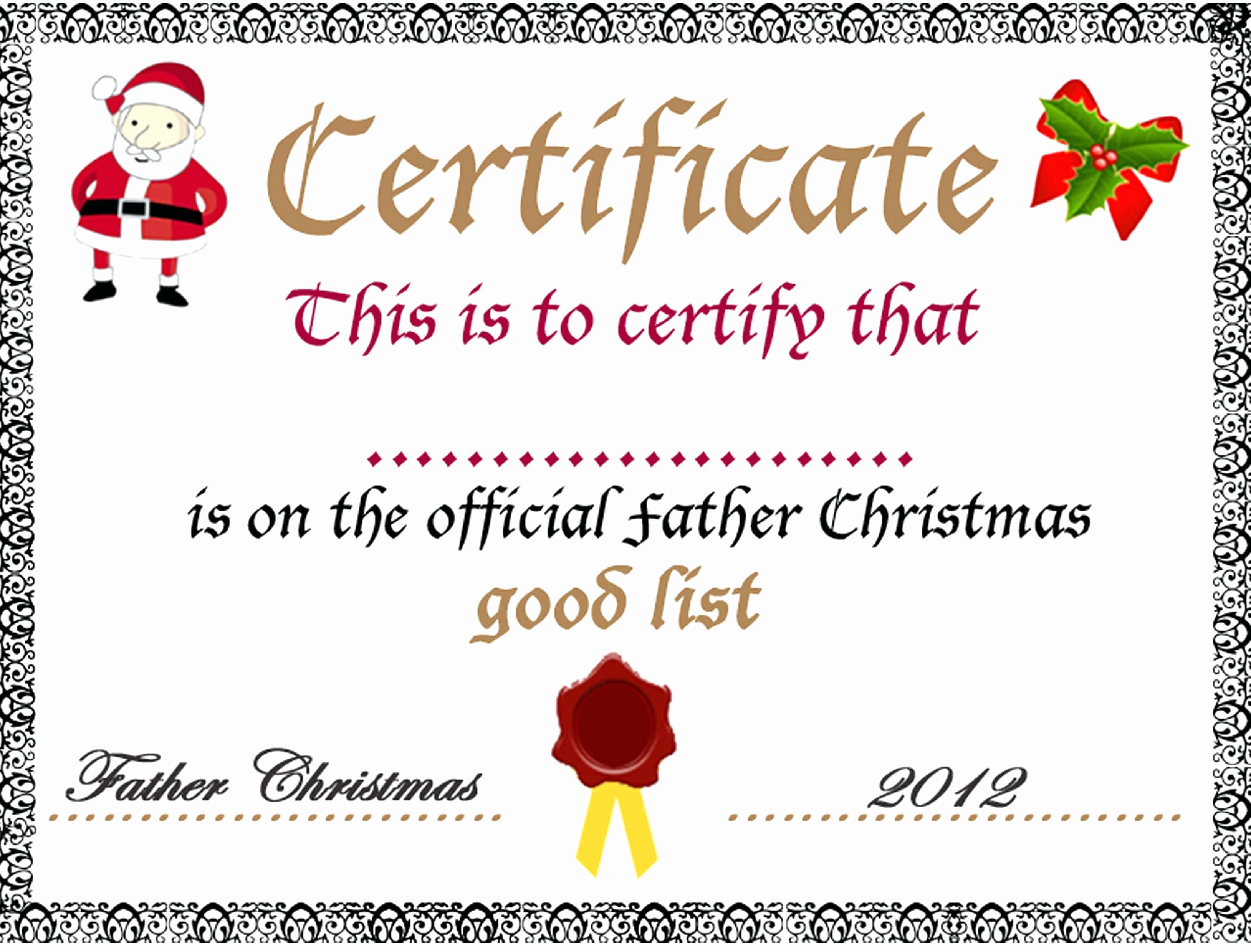 Christmas Certificate Template Free Download Lovely Template Christmas Certificate Template