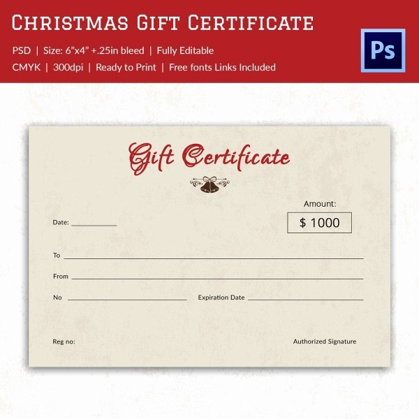 Christmas Certificate Template Free Download Luxury Christmas Gift Certificate Templates 21 Psd format