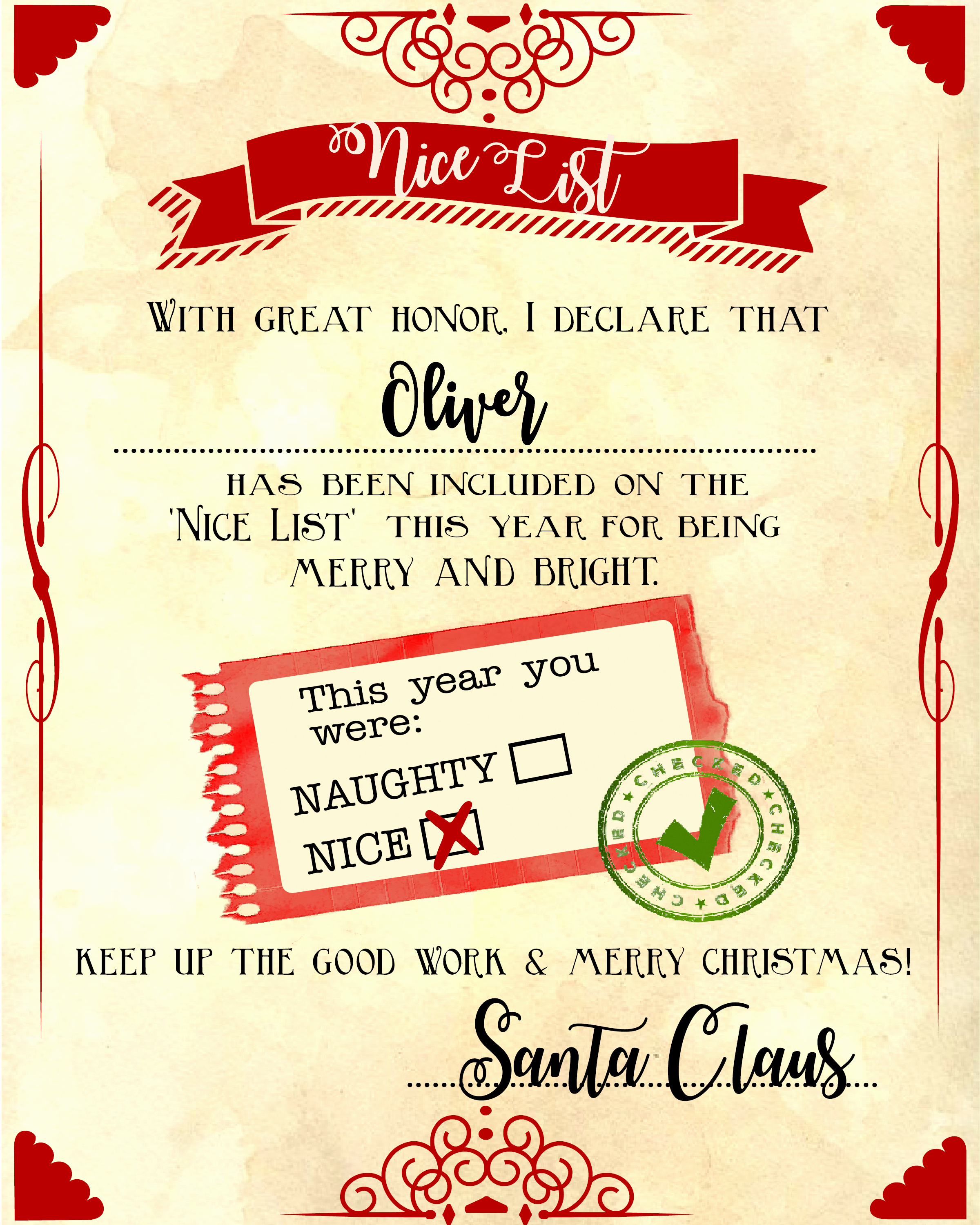 "Christmas Certificate Template Free Download New Santa ""nice List"" Free Printable Certificate"