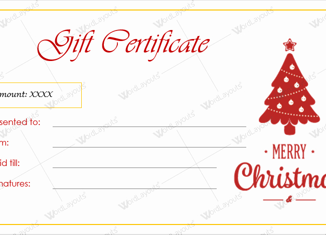 Christmas Certificates Templates for Word Beautiful Christmas Gift Certificate Template 38 Word Layouts
