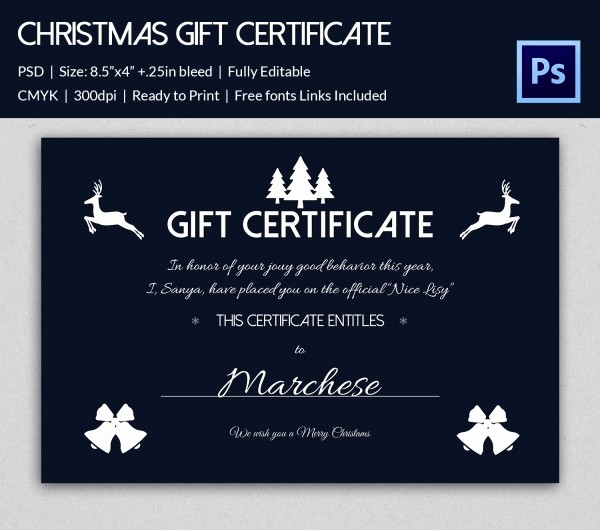 Christmas Certificates Templates for Word Beautiful Christmas Gift Certificate Templates 21 Psd format