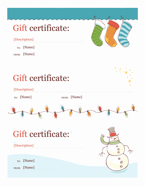 Christmas Certificates Templates for Word Beautiful Holiday Gift Certificate Template Word Christmas Free