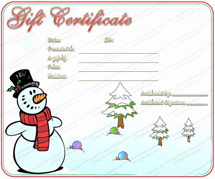 Christmas Certificates Templates for Word Fresh Snowman Christmas Gift Certificate Template