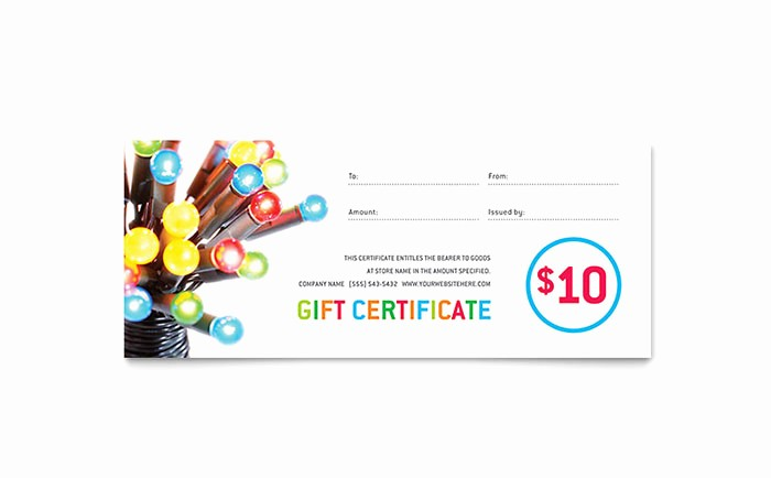 Christmas Certificates Templates for Word Lovely Christmas Lights Gift Certificate Template Word & Publisher