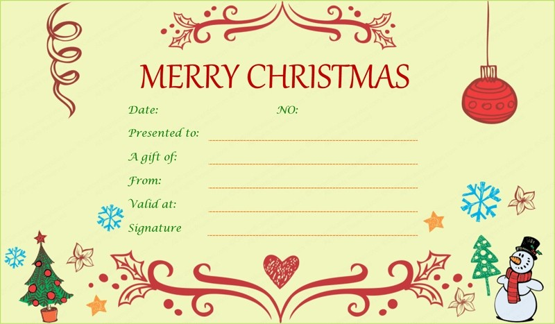 Christmas Certificates Templates for Word Lovely Xmas Gift Certificate Template Invitation Template