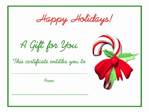 Christmas Certificates Templates for Word Luxury Free Holiday Gift Certificates Templates to Print