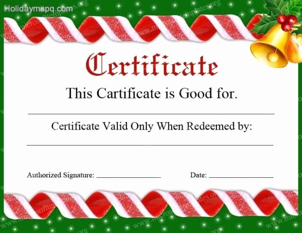 Christmas Certificates Templates for Word Luxury Gift Certificate Template Free Holidaymapq