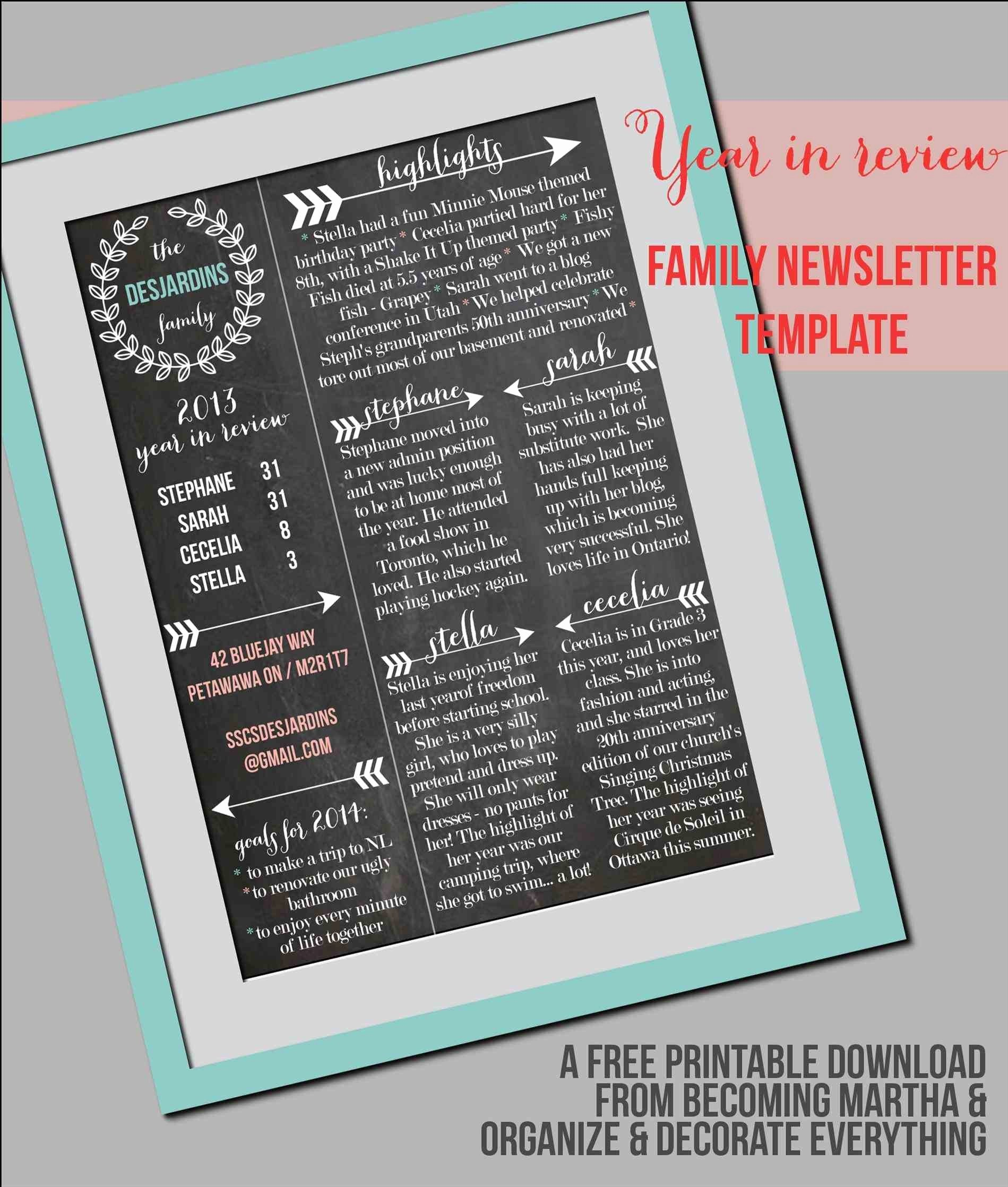 Christmas Family Newsletter Template Free Fresh Beautiful Free Printable Funeral Program Template