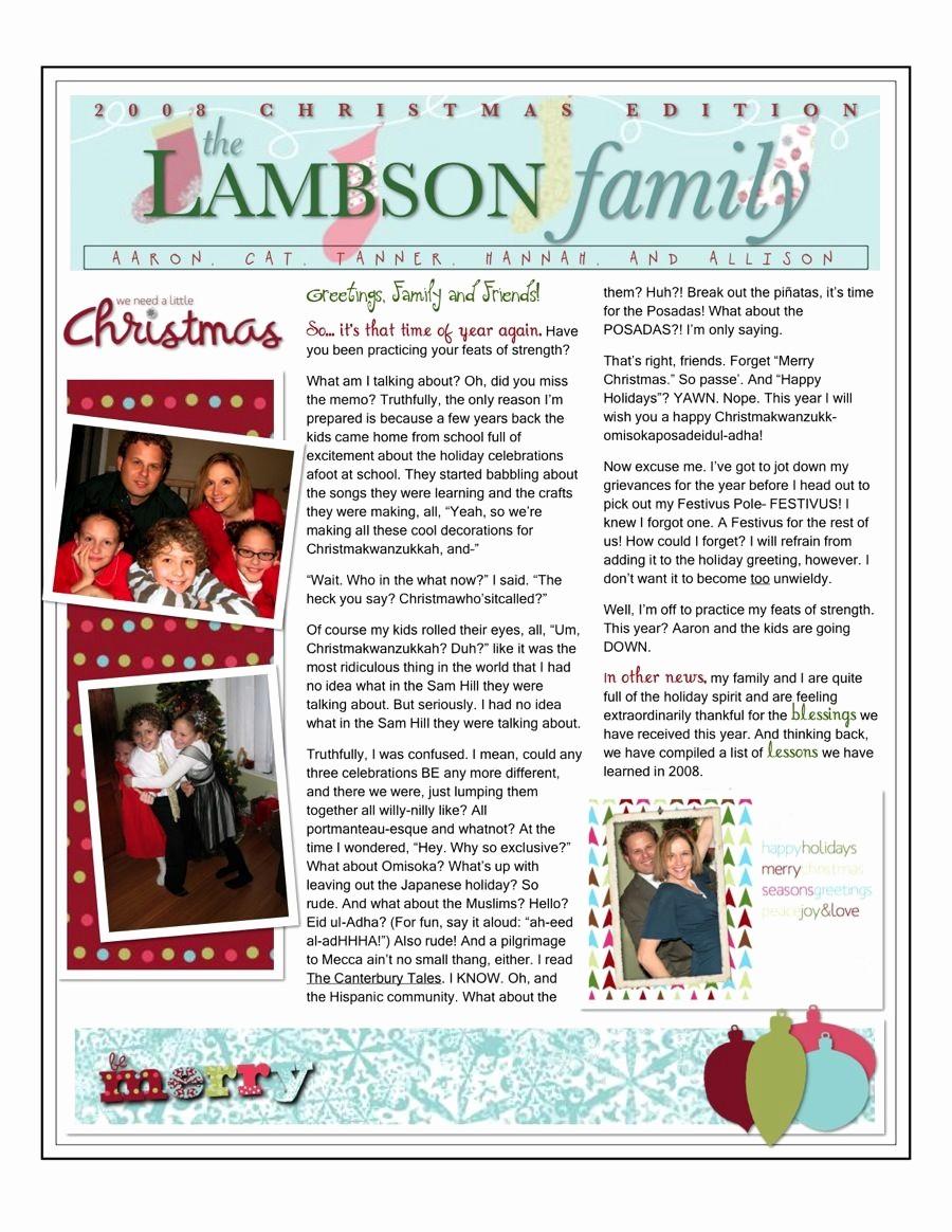 Christmas Family Newsletter Template Free Fresh Christmas Family Newsletter
