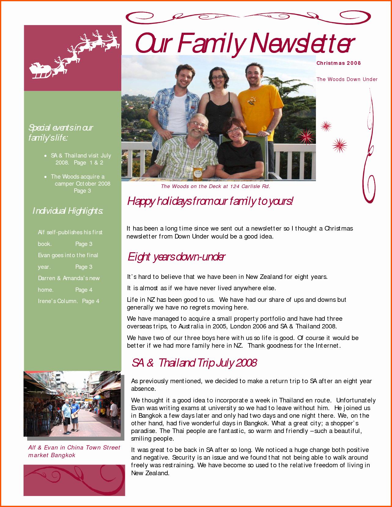 Christmas Family Newsletter Template Free Inspirational Family Newsletter Templates Free
