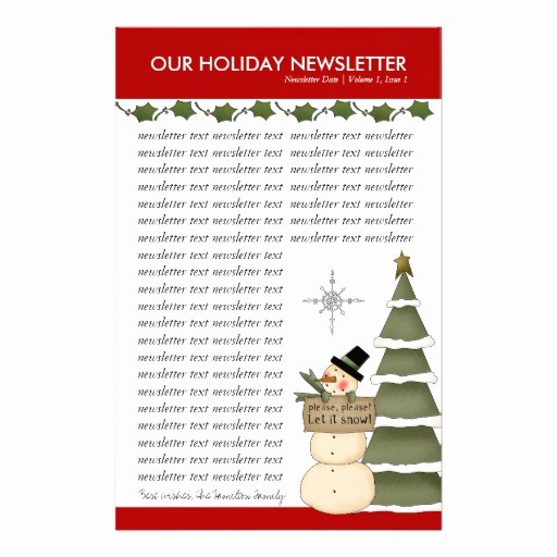 Christmas Family Newsletter Template Free Lovely Christmas or Holiday Family Newsletter Template Stationery