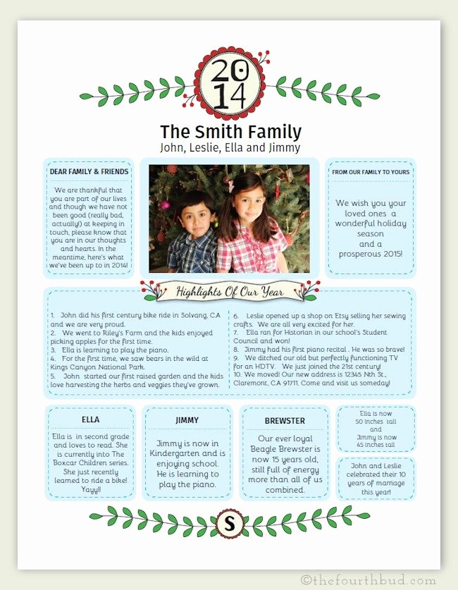 Christmas Family Newsletter Template Free Unique Family Christmas Letter Templates Invitation Template
