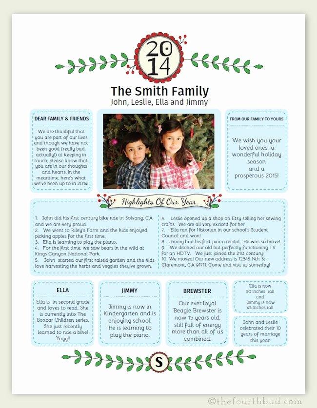 Christmas Family Newsletter Template Free Unique Family Christmas Letter Templates Invitation Template